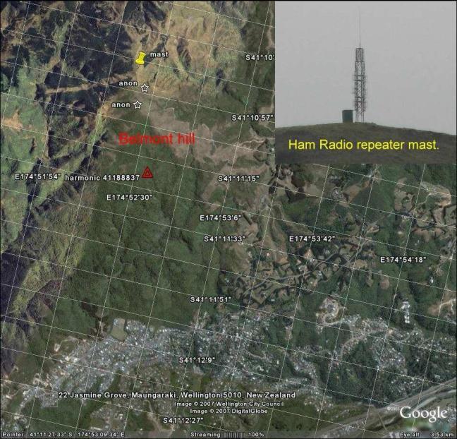 Gambar 6. Bukit Bellmont dan lokasi repeater. Objek yang terlihat oleh saksi mata bergerak di atas dan di sekitar puncak bukit tersebut.