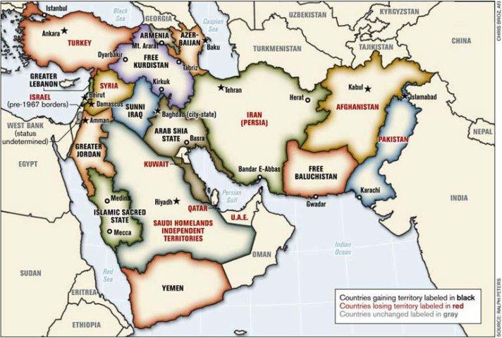 Catatan: peta ini disusun oleh Letnan-Kolonel Ralph Peters. Dipublikasikan dalam Armed Forces Journal Juni 2006. Peters adalah purnawirawan kolonel US National War Academy. (Hak cipta peta Letnan-Kolonel Ralph Peters 2006)