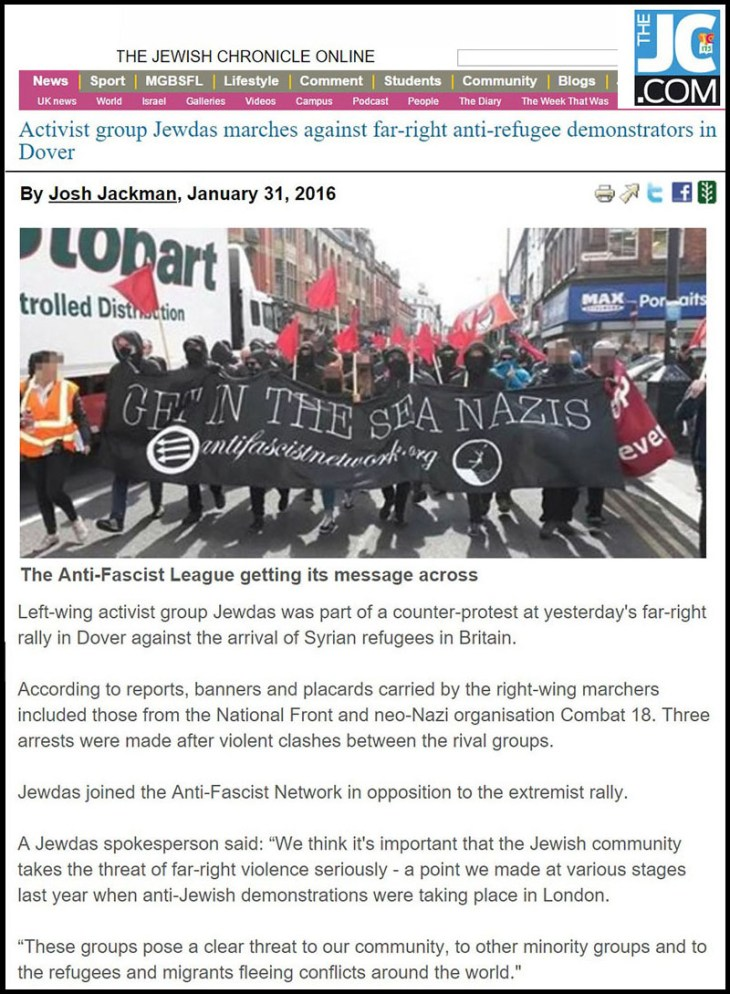 Jewish Chronicle - Konvoi Jewdas hadapi demonstran sayap-kanan dan anti-pengungsi