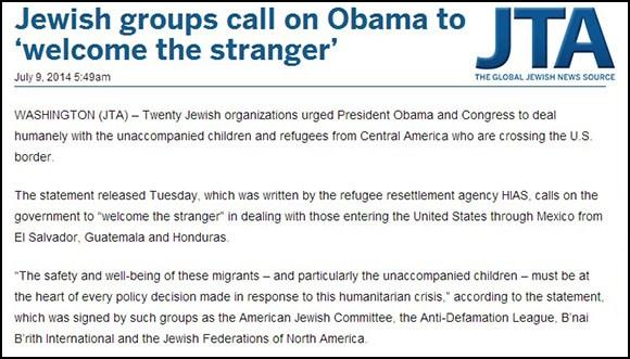 "Organisasi-organisasi Yahudi minta rakyat Amerika ""menyambut orang asing""."