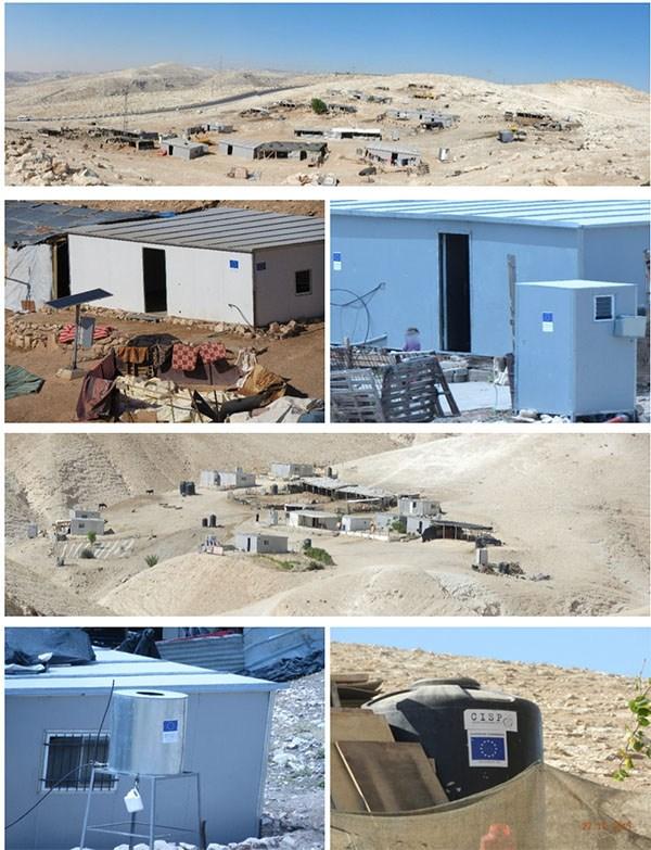 Gambar-gambar dari laporan Regavim yang memperlihatkan perumahan Palestina sedang dibangun dengan dana UE di Tepi Barat.