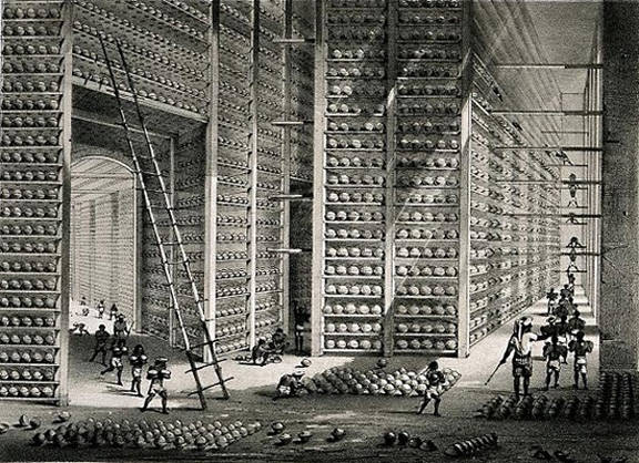 Gudang opium di India (sekitar tahun 1850)