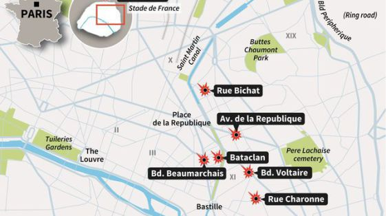 6 tempat di Paris diserang